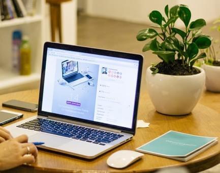 Bureau avec un ordinateur et une plante piléa